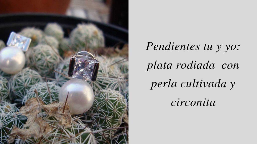 Pendientes tu y yo_ plata dorada con perla cultivada y circonita